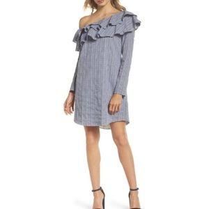 Adelyn Rae One-Shoulder Gingham Shirt Dress